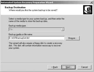 Windows Server 2003 Asr Wizard Screen