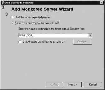 Add Monitored Server Wizard