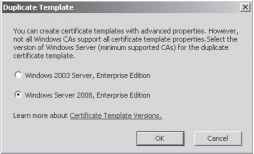 Managing certificate templates learning windows server 2008 figure 7 18 selecting template compatibility yadclub Gallery