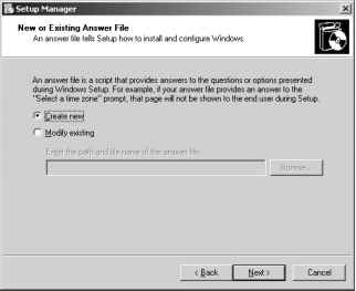 Creating the Answer File - Solutions Windows Server 2003