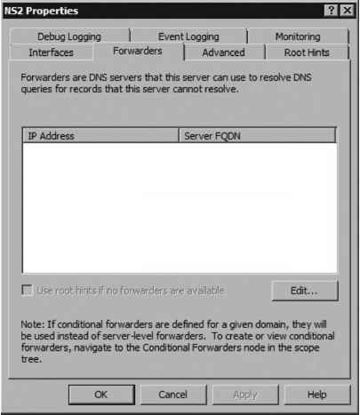 Configuring Server Level Forwarders - Upgrading Windows Server 2003